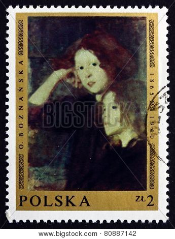 Postage Stamp Poland 1969 Two Girls,  By Olga Boznanska