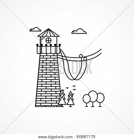 Black vector icon for rope jumping tower