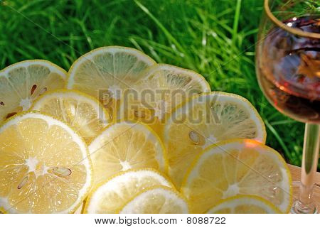 Light Alcoholic Drink And Juicy Lemon
