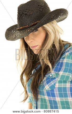 Cowgirl Blue Shirt Black Hat Close Look
