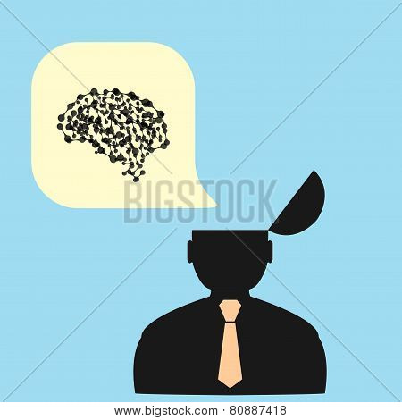 Flat man and his brain. vector illustration
