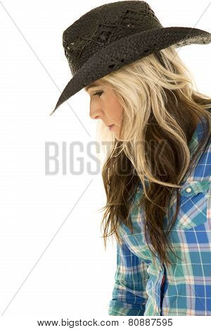 Cowgirl Blue Shirt Hat Close Side Look Down