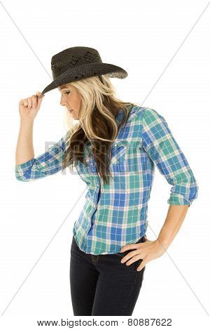 Cowgirl Blue Shirt Side Touch Hat