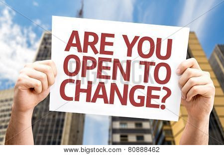 Are You Open to Change? card with a urban background