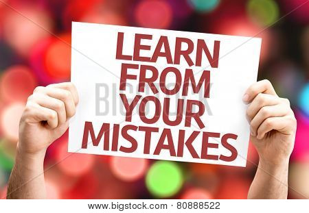 Learn From Your Mistakes card with colorful background with defocused lights