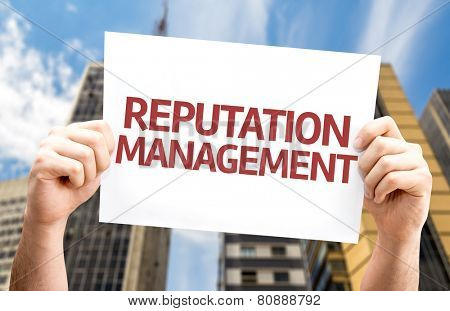 Reputation Management card with a urban background
