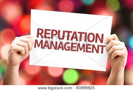 Reputation Management card with colorful background with defocused lights
