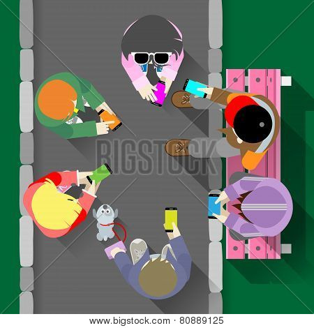 Group of Young People with Smartphones Grouped next to the Bench. Stock Vector Illustration