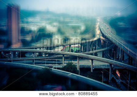 overpass at night, shanghai china.