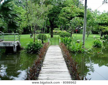 A wood bridge