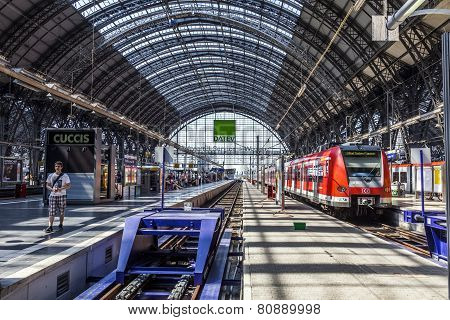 Travelers Inside The Frankfurt Central Station Heading Or Leaving The Train