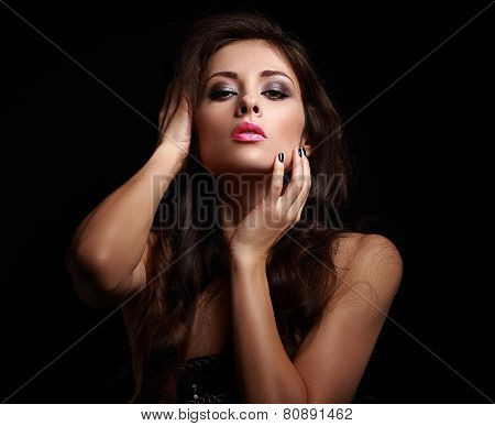 Hot Sexy Woman In Dark Touching Her Makeup Face
