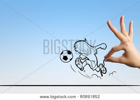 Funny caricature of football player on white background