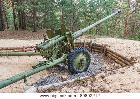 Artillery gun from World War II in Belarus