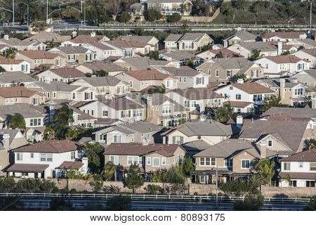 Rows of contemporary middle class homes near Los Angeles, California.