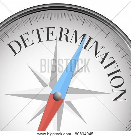 detailed illustration of a compass with determination text, eps10 vector