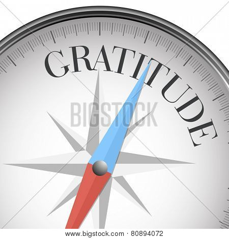 detailed illustration of a compass with gratitude text, eps10 vector