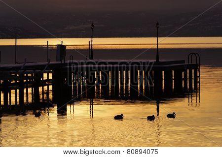 Dock On Okanagan Lake In Winter