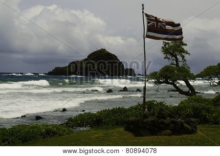 Old Hawaii Flag On Stromy Day