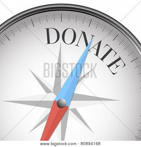 detailed illustration of a compass with donate text, eps10 vector