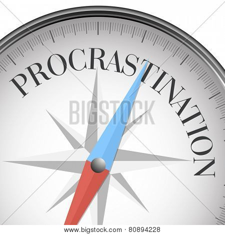 detailed illustration of a compass with procrastination text, eps10 vector