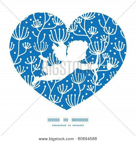Vector blue white lineart plants shooting cupid silhouette frame pattern invitation greeting card te