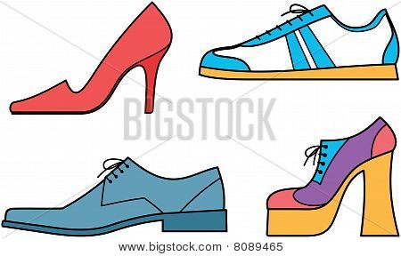Men's  and women's shoes - Vector illustration