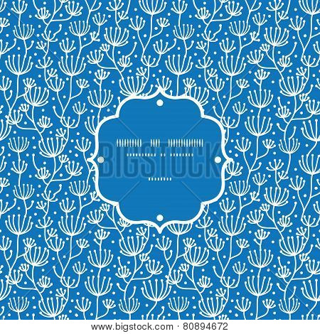 Vector blue white lineart plants frame seamless pattern background