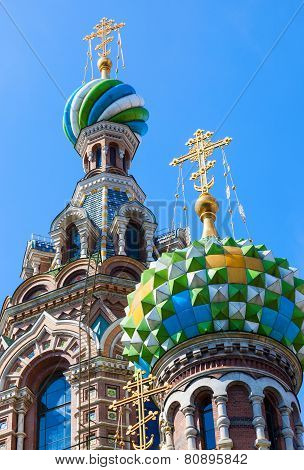 Domes Of Church Of The Savior On Spilled Blood In St. Petersburg, Russia