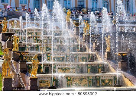 Grand Cascade in Peterhof Palace (Petrodvorets).