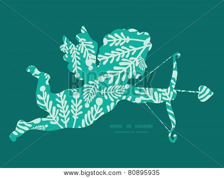 Vector emerald green plants shooting cupid silhouette frame pattern invitation greeting card templat