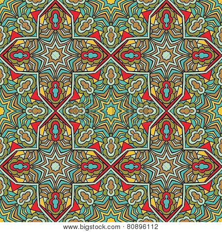 Arabic Seamless Pattern Stained Glass Style