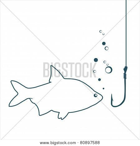 Fish looking on a hook