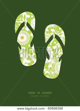 Vector green and golden garden silhouettes flip flops silhouettes pattern frame