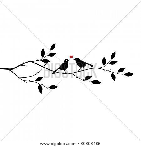 Valentine's background with birds in love at Branch for you. vector illustration