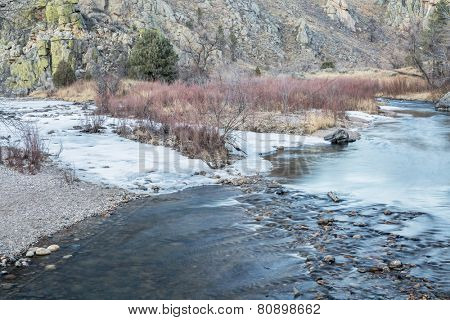 Cache la Poudre River in winter scenery at confluence with its North Fork , Gateway Natural Area near Fort Collins, Colorado