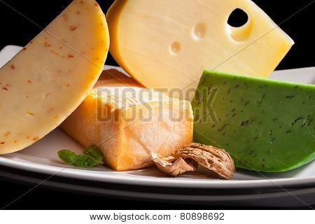 Culinary Cheese Variation Close Up.