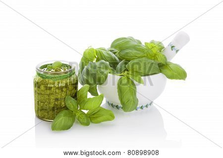 Basil Pesto With Ingredients.