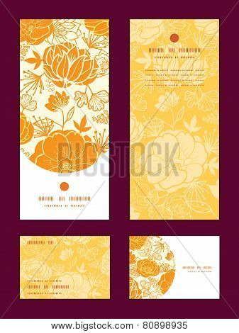 Vector golden art flowers vertical frame pattern invitation greeting, RSVP and thank you cards set