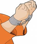 picture of handcuffs  - Cartoon of hands in handcuffs with orange shirt - JPG