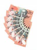 picture of twenty dollars  - Closeup image of Australian dollar bills on a white background - JPG