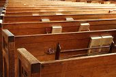 stock photo of pews  - view of chuch pews - JPG