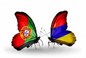 image of armenia  - Two butterflies with flags on wings as symbol of relations Portugal and Armenia - JPG