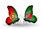 picture of bangladesh  - Two butterflies with flags on wings as symbol of relations Portugal and Bangladesh - JPG