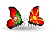 pic of macedonia  - Two butterflies with flags on wings as symbol of relations Portugal and Macedonia - JPG