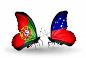 foto of samoa  - Two butterflies with flags on wings as symbol of relations Portugal and Samoa - JPG