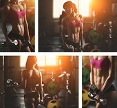 picture of fitness  - Brutal athletic woman pumping up muscles with dumbbells - JPG