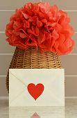 image of pom-pom  - Vase basket with pom pom red tissue paper flower - JPG