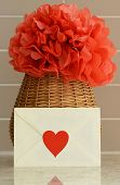 image of pom poms  - Vase basket with pom pom red tissue paper flower - JPG