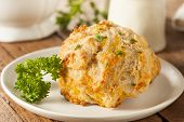 picture of biscuits  - Homemade Cheddar Cheese Biscuits with Parsley Herbs - JPG